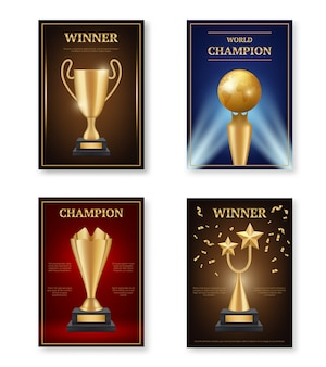 Trophy poster. winner awards placard  template medals for champions gold achieve vector symbols