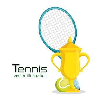 Trophy racket and ball tennis poster