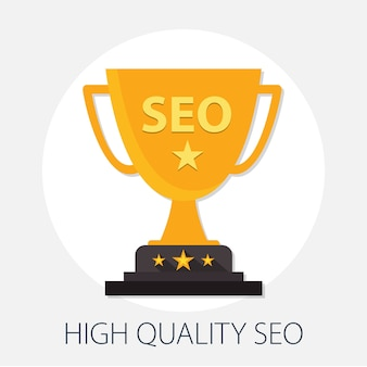 Trophy seo and internet optimization concept
