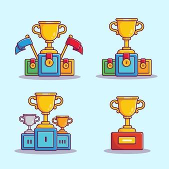 トロフィーセット漫画ベクトルイラスト。チャンピオンと報酬の概念分離ベクトル。フラット漫画スタイル