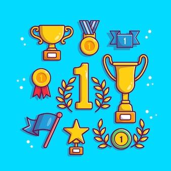 Трофейный набор мультфильм векторные иллюстрации. трофей и награда концепция изолированных вектор. плоский мультяшном стиле