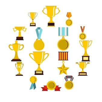 Trophy set flat icons