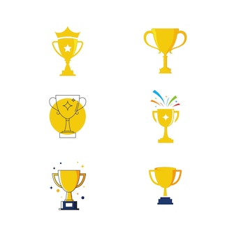 Trophy vector icon design illustration template