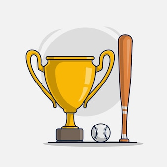 Trophy with baseball sport icon illustration