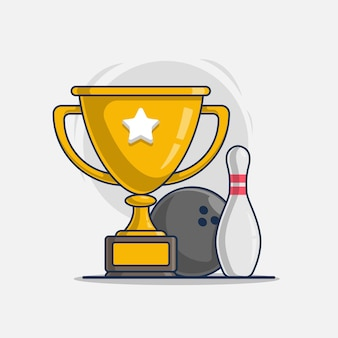 Trophy with bowling ball sport icon illustration