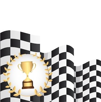 Trophy with  checkered flag