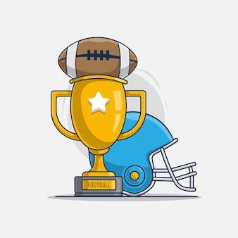 スポーツアメリカンフットボールのアイコンイラストとトロフィー