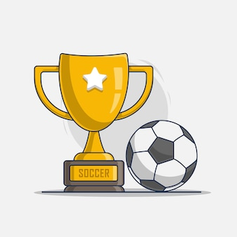 スポーツサッカーのアイコンイラストとトロフィー