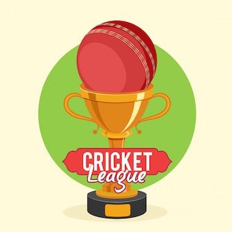 Золотой кубок trophy с красным мячом для концепции крикетной лиги.