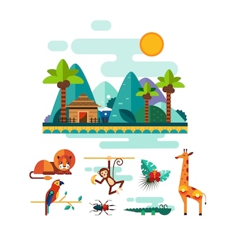 熱帯動物、昆虫、ジャングルのイラストセットの鳥