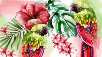 熱帯カードの水彩画