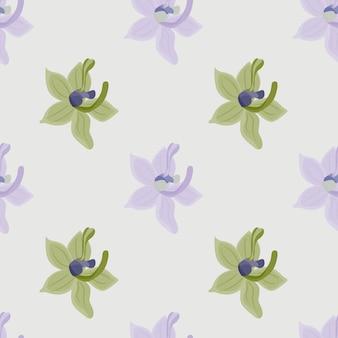 緑の蘭の花がプリントされた熱帯の花柄シームレス パターン