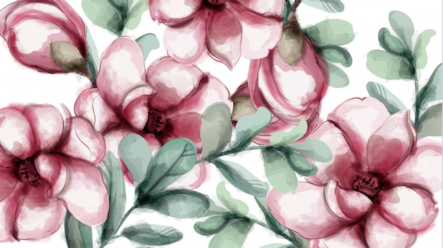 Tropic flowers background watercolor