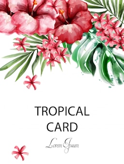 Tropic flowers card watercolor