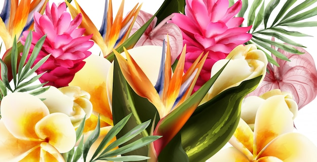 Tropic flowers watercolor background