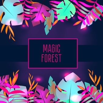 Tropic flyer template. neon tropical jungle leaves and frame