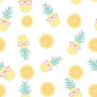Тропик фрукты ананас и апельсин бесшовный дизайн. векторная иллюстрация