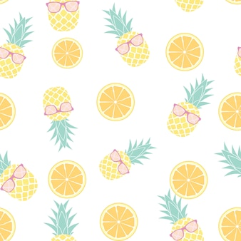 Tropic fruit pineapple and orange seamless pattern design. vector illustration