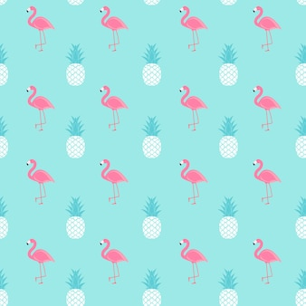 Tropic fruit pineapple and pink flamingo seamless pattern background .