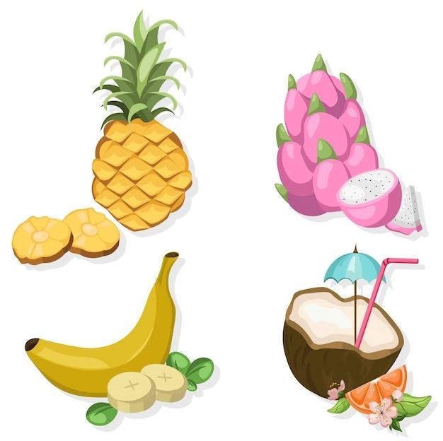 Tropic fruits set