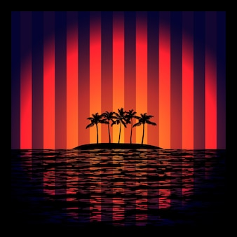 Tropic island with palms in sea exotic background with retro neon strips effect