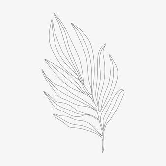 熱帯の葉のモノライン