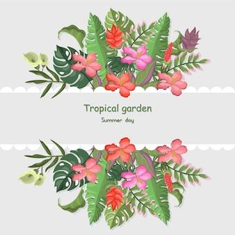 トロピカル葉のバナーテンプレートベクトルイラストの背景カラフルな