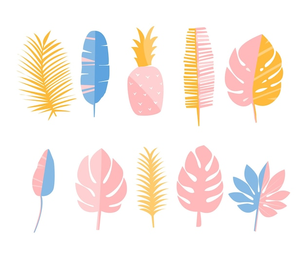 Tropic leaves and pineapple set of elements for cards fashion prints and stationary