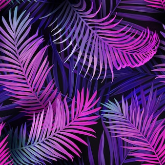 Tropic neon seamless vector background, summer tropical palm leaves vibrant pattern, hawaii floral illustration design for textile, backdrop, fashion decoration, trendy fabric, beach party poster