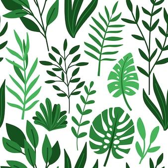 熱帯のヤシの緑の葉の描画パターン。白、葉、ハーブのファッションプリント壁紙ベクトルイラストの熱帯のシームレスな背景