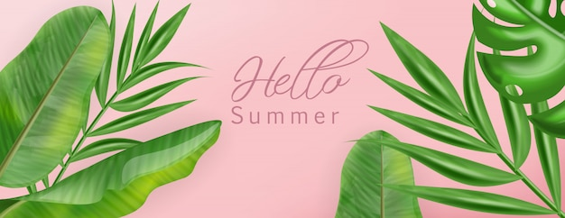 Tropic palm leaves with hello summer banner