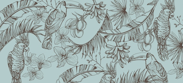 Tropic parrot card line art. exotic pattern leaves decors
