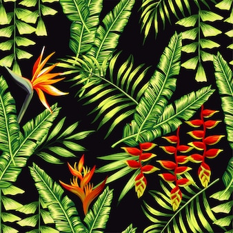 Tropic plants and palm trees pattern