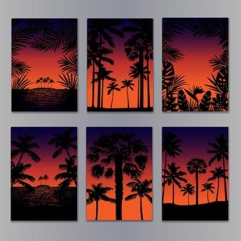 Набор шаблонов тропических плакатов с силуэтами ладоней, макет для обложек, приглашения, поздравительные открытки