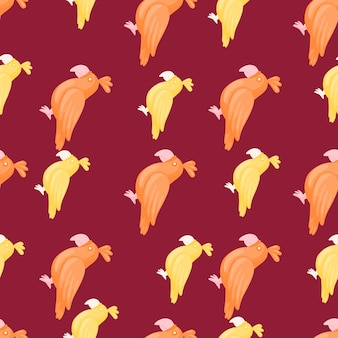 Tropic seamless pattern with orange and yellow parrots silhouttes. maroon background. hand drawn print. perfect for fabric design, textile print, wrapping, cover. vector illustration.