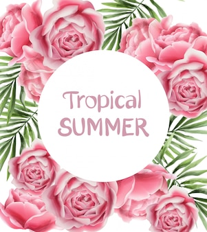 Tropic summer card with rose flowers