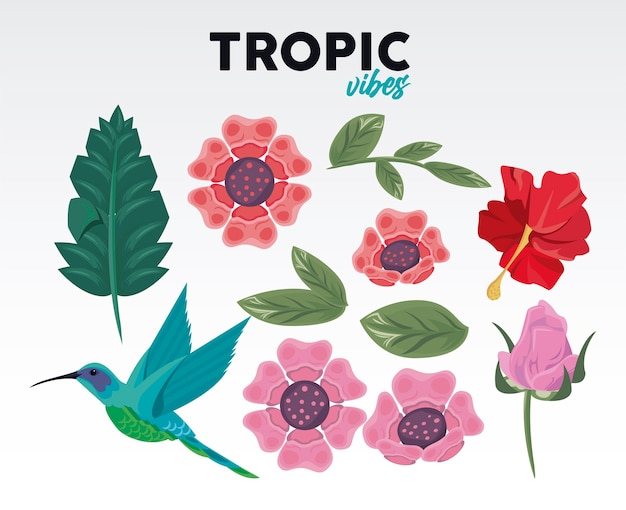 Tropic vibes quote and set flowers and bird illustration design
