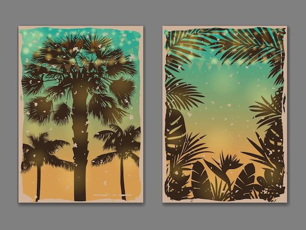 Набор шаблонов тропических винтажных плакатов