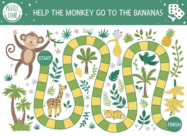Tropical adventure board game for children with cute animals, plants, birds. educational exotic boardgame. help the monkey go to the bananas. summer game for kids