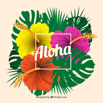 Tropical aloha background with colorful flowers