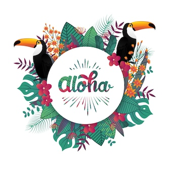 Tropical aloha banner template decoration leaf and toucan birds.