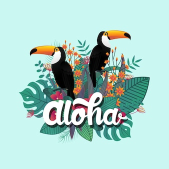 Tropical aloha poster template decoration leaf and toucan birds.