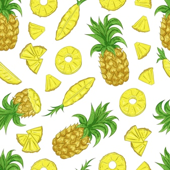 Tropical ananas pineapple fruit seamless pattern on white background.
