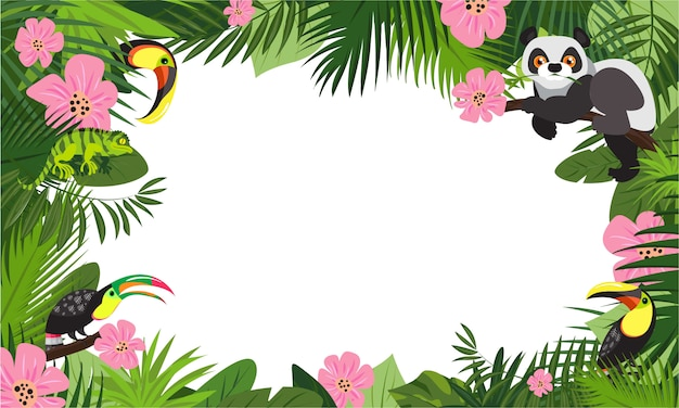 Tropical animal rainforest concept frame background, cartoon style
