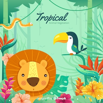 Tropical animal and vegetation background