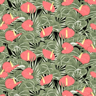 Tropical anthurium calla lily seamless pattern