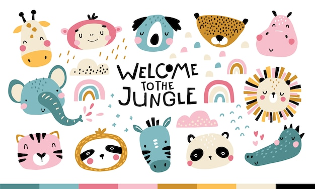 Tropical arica set. welcome to the jungle. cute animals faces. childish print for nursery in a scandinavian style.