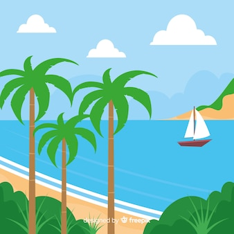 Tropical background vector beach landscape