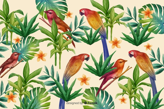 Tropical background with animals