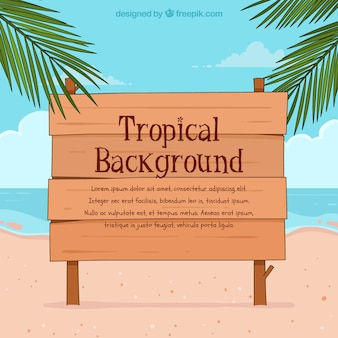 Тропический фон с видом на пляж